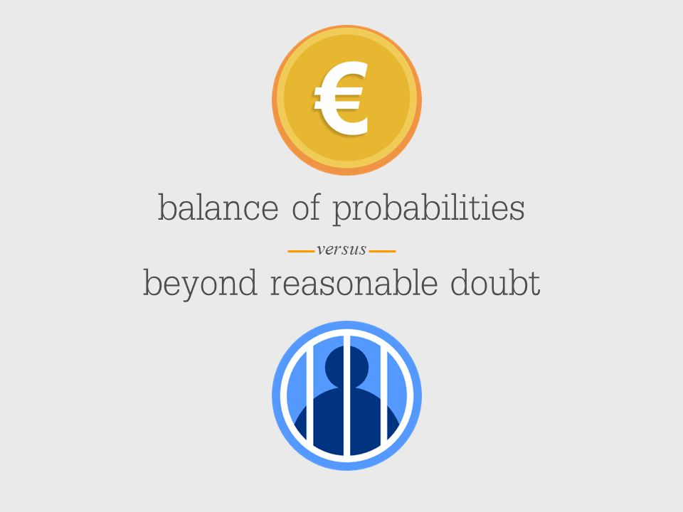 versus balance of probabilities beyond reasonable doubt