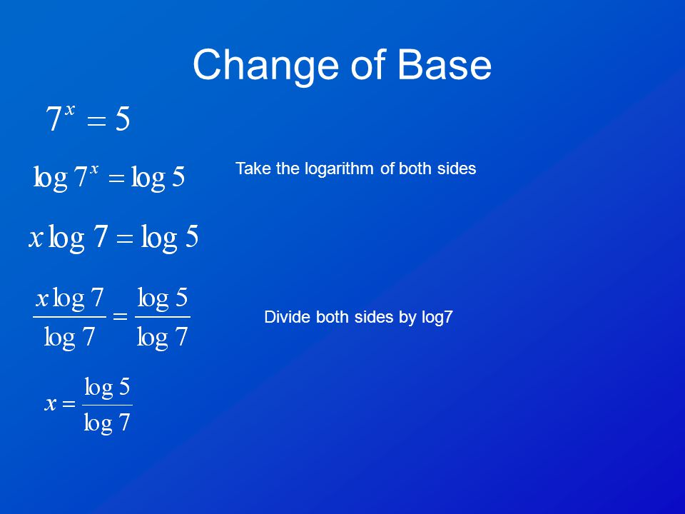 Change of Base Take the logarithm of both sides Divide both sides by log7