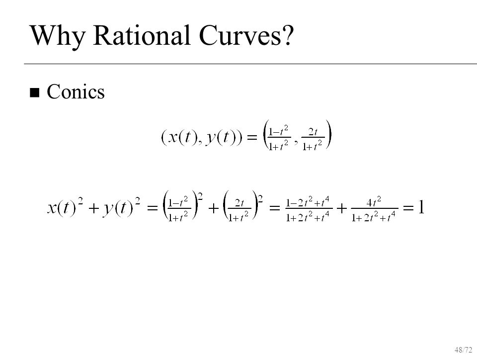 48/72 Why Rational Curves Conics