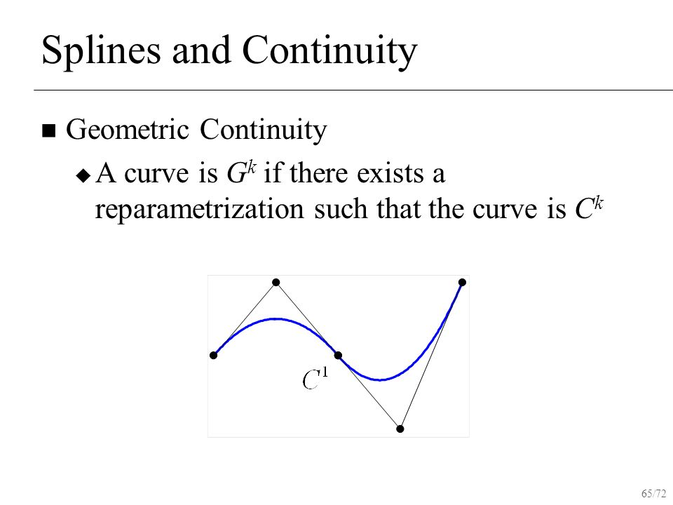65/72 Splines and Continuity Geometric Continuity  A curve is G k if there exists a reparametrization such that the curve is C k