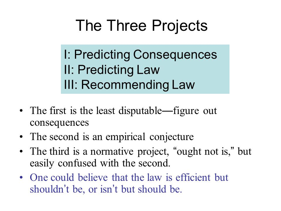 I: Predicting Consequences II: Predicting Law III: Recommending Law The first is the least disputable — figure out consequences The second is an empirical conjecture The third is a normative project, ought not is, but easily confused with the second.
