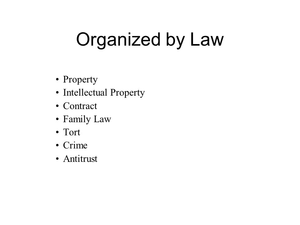 Organized by Law Property Intellectual Property Contract Family Law Tort Crime Antitrust