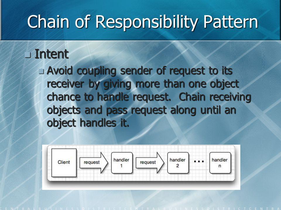 Chain of Responsibility Pattern void Handler::HandleRequest (Request * theRequest) { switch (theRequest->GetKind() ) { case Help: // cast argument ot appropriate type HandleHelp( (HelpRequest*) theRequest); break; case Print: HandlePrint((PrintRequest*) theRequest); // etc...