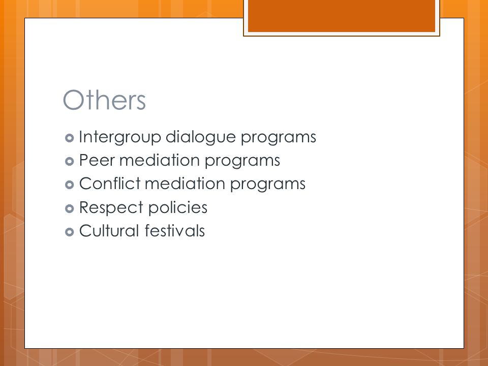 Others  Intergroup dialogue programs  Peer mediation programs  Conflict mediation programs  Respect policies  Cultural festivals