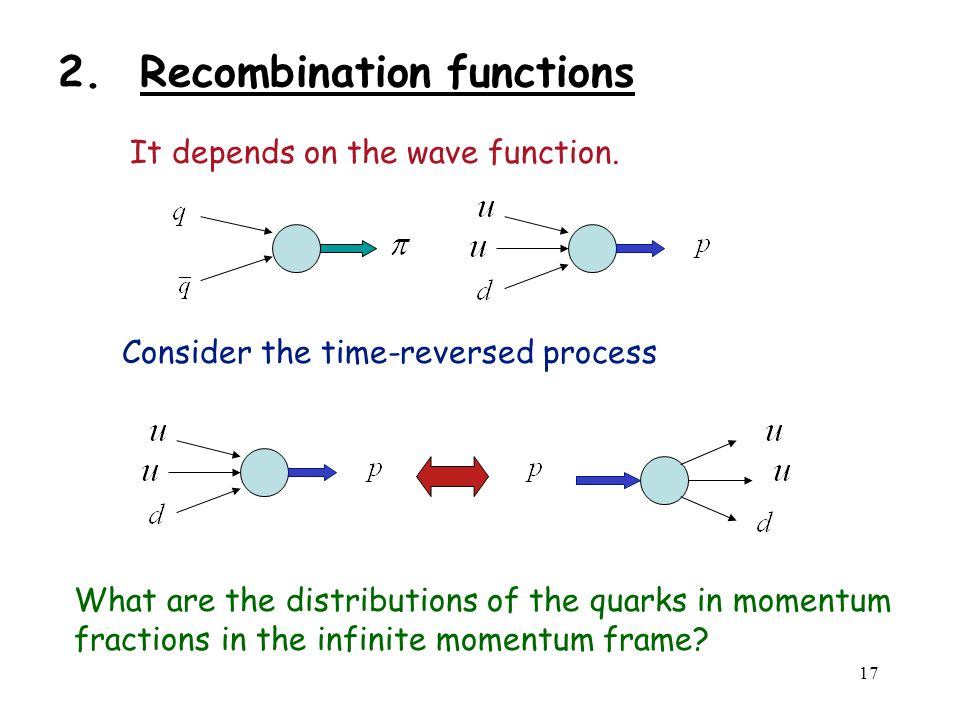 17 2. Recombination functions It depends on the wave function.