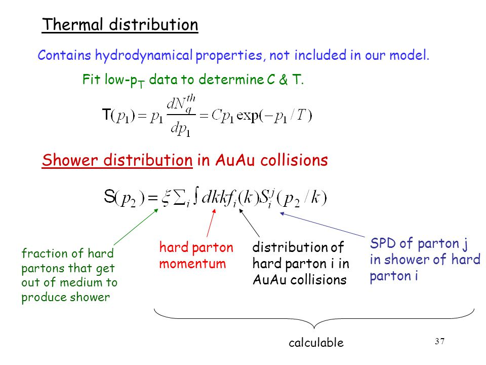37 Thermal distribution Fit low-p T data to determine C & T.