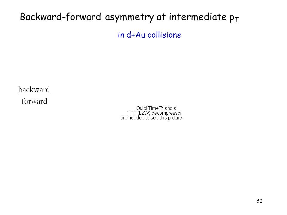52 Backward-forward asymmetry at intermediate p T in d+Au collisions
