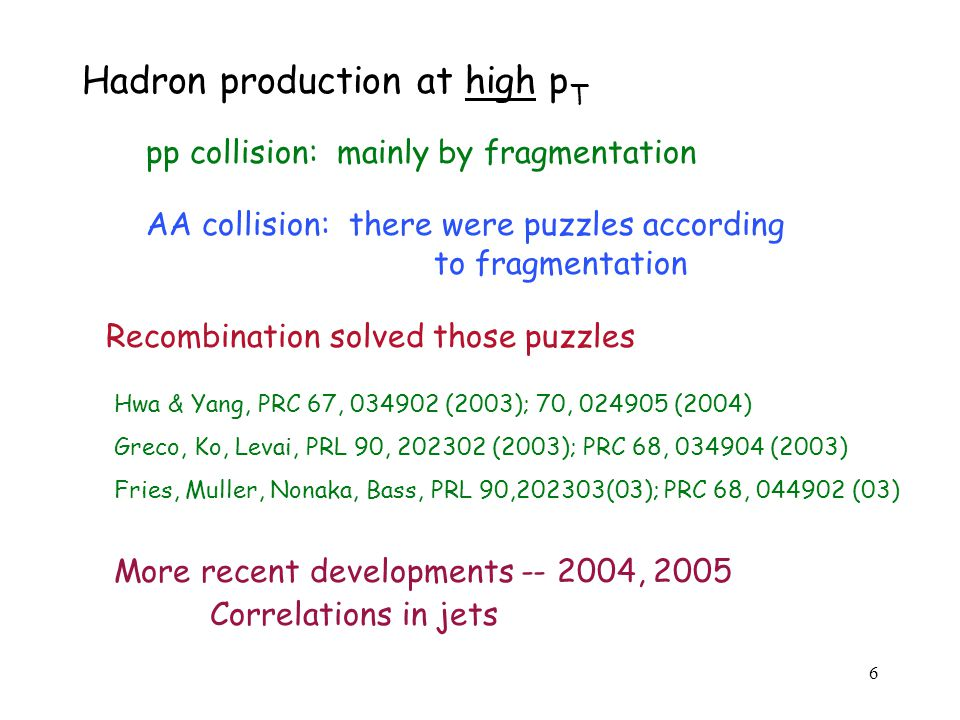 6 Hadron production at high p T pp collision: mainly by fragmentation AA collision: there were puzzles according to fragmentation Recombination solved those puzzles Hwa & Yang, PRC 67, 034902 (2003); 70, 024905 (2004) Greco, Ko, Levai, PRL 90, 202302 (2003); PRC 68, 034904 (2003) Fries, Muller, Nonaka, Bass, PRL 90,202303(03); PRC 68, 044902 (03) More recent developments -- 2004, 2005 Correlations in jets