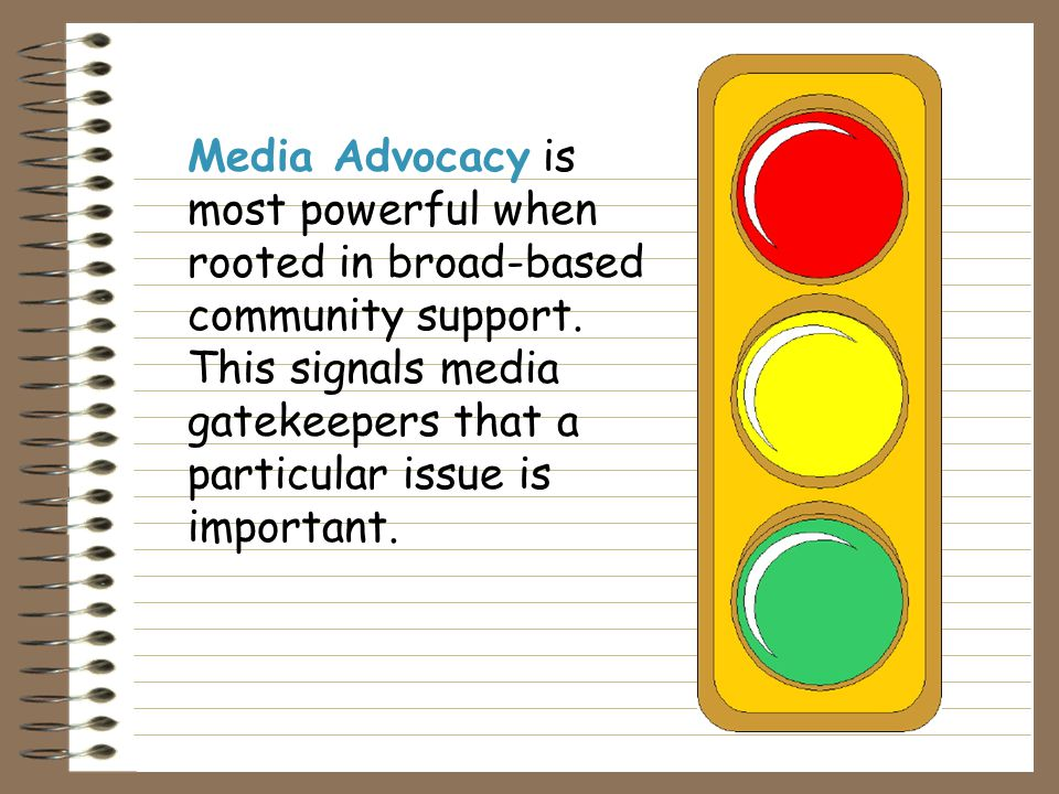 Media Advocacy provides a framework for moving the public health discussion from a primary focus on the health behavior of the individuals to the beha