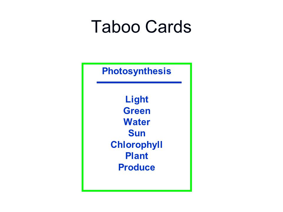 Taboo Cards Photosynthesis Light Green Water Sun Chlorophyll Plant Produce