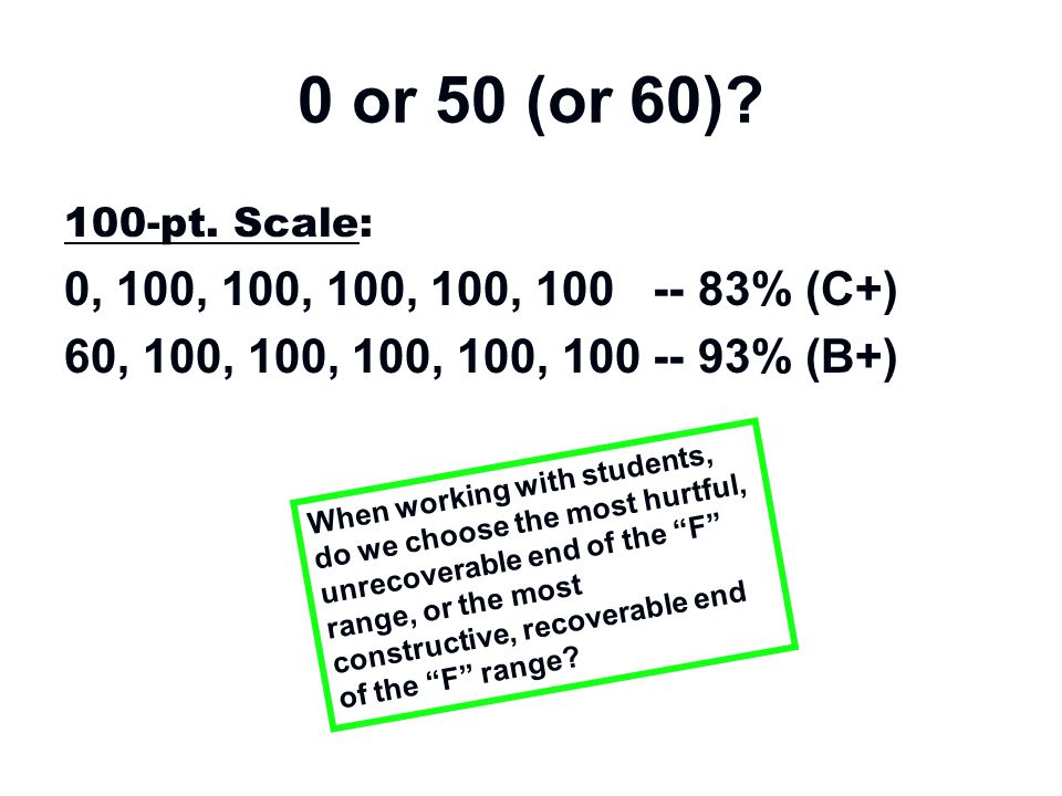 0 or 50 (or 60)? 100-pt. Scale: 0, 100, 100, 100, 100, 100 -- 83% (C+) 60, 100, 100, 100, 100, 100 -- 93% (B+) When working with students, do we choos
