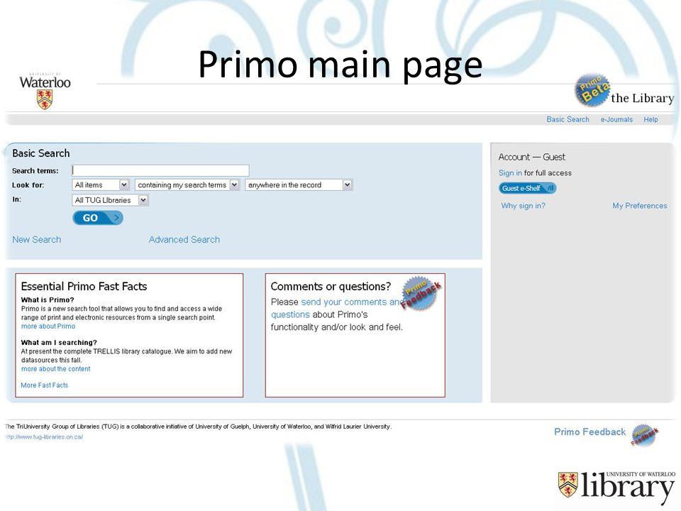 Primo main page