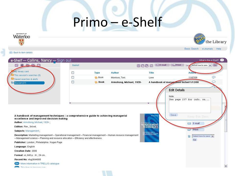 Primo – e-Shelf