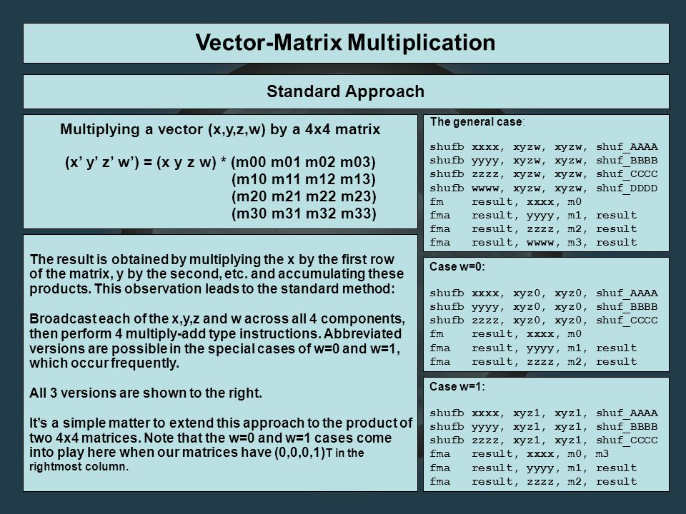 Vector-Matrix Multiplication Standard Approach Multiplying a vector (x,y,z,w) by a 4x4 matrix (x' y' z' w') = (x y z w) * (m00 m01 m02 m03) (m10 m11