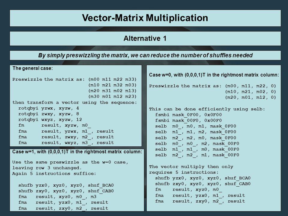 Vector-Matrix Multiplication The general case: Preswizzle the matrix as: (m00 m11 m22 m33) (m10 m21 m32 m03) (m20 m31 m02 m13) (m30 m01 m12 m23) t