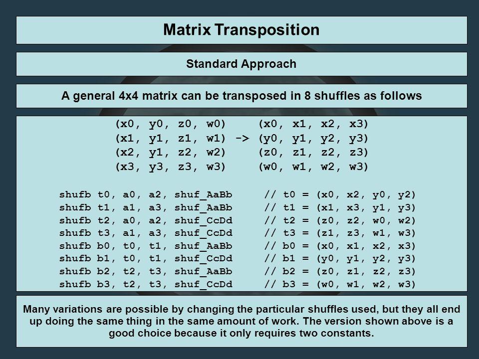 Matrix Transposition Standard Approach A general 4x4 matrix can be transposed in 8 shuffles as follows (x0, y0, z0, w0) (x0, x1, x2, x3) (x1, y1, z1,
