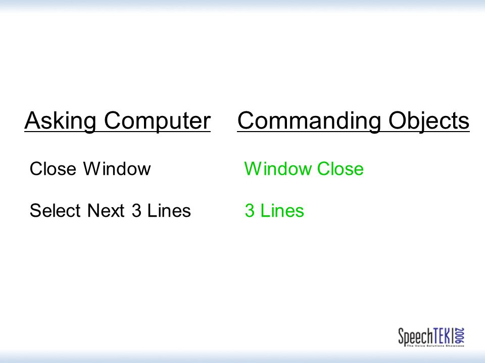 Asking Computer Commanding Objects Close Window Window Close Select Next 3 Lines 3 Lines