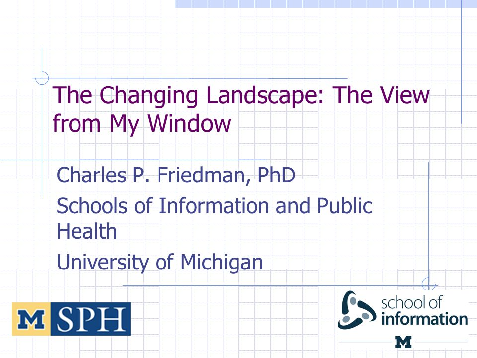 The Changing Landscape: The View from My Window Charles P.