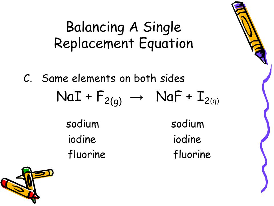 Balancing A Single Replacement Equation C.Same elements on both sides NaI + F 2(g) → NaF + I 2 (g) sodium sodium iodine iodine fluorine fluorine