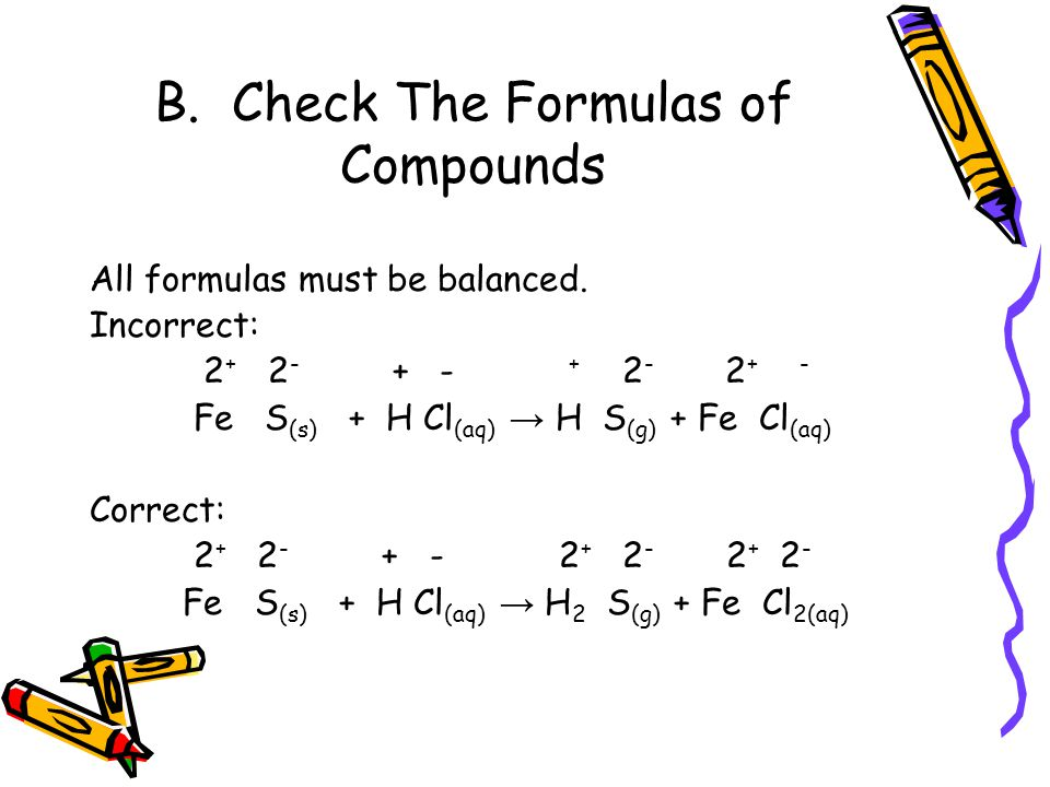B. Check The Formulas of Compounds All formulas must be balanced.