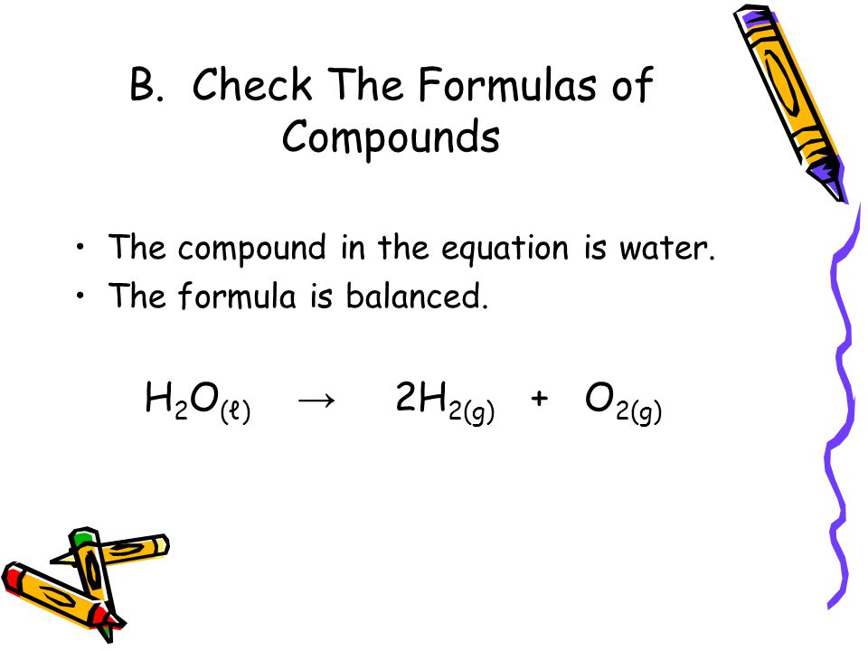 B. Check The Formulas of Compounds The compound in the equation is water.