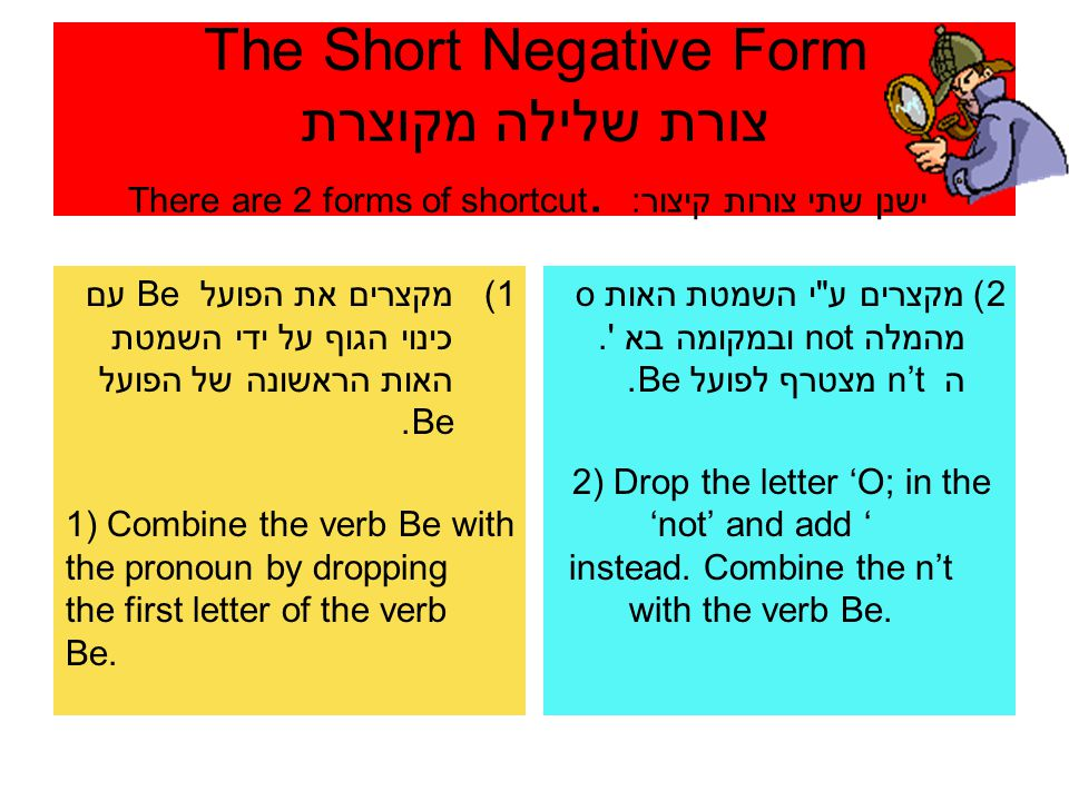 The Short Negative Form צורת שלילה מקוצרת ישנן שתי צורות קיצור: There are 2 forms of shortcut.