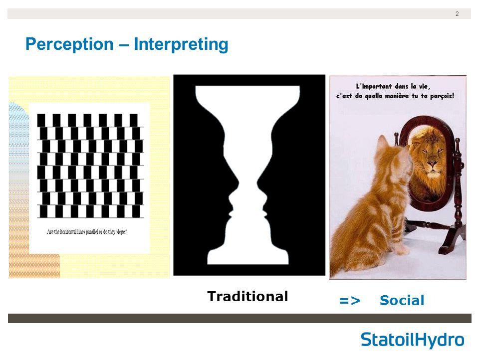 2 Perception – Interpreting Traditional => Social