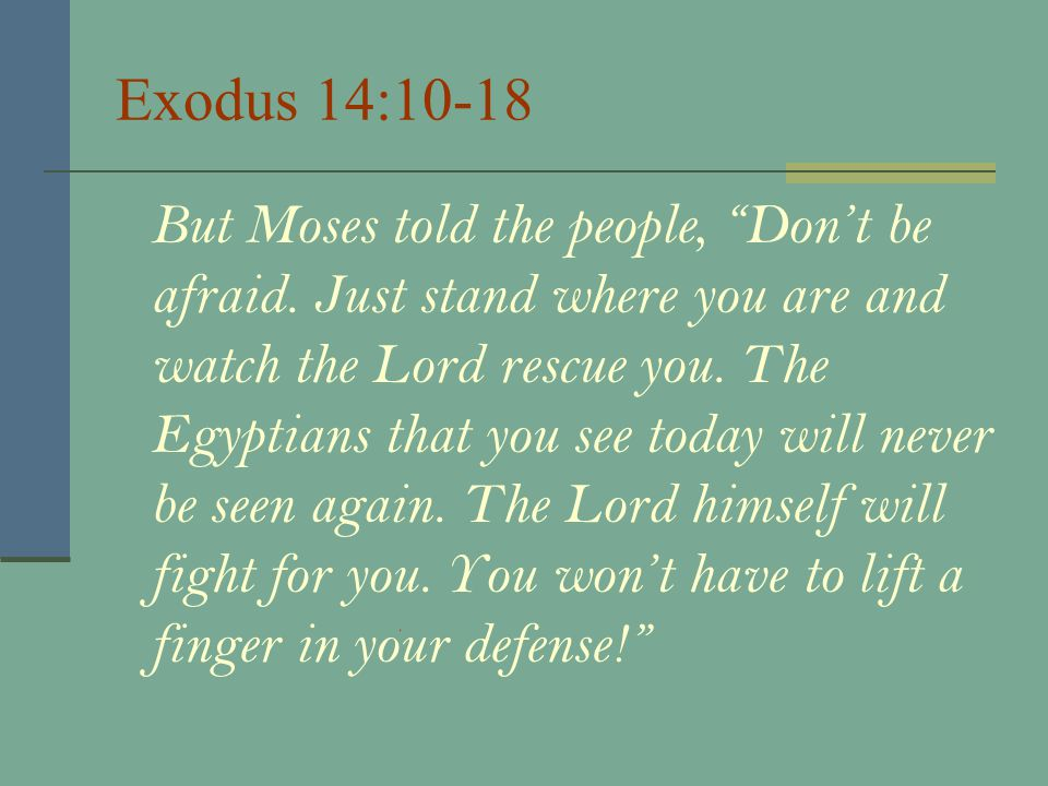 Exodus 14:10-18 But Moses told the people, Don't be afraid.