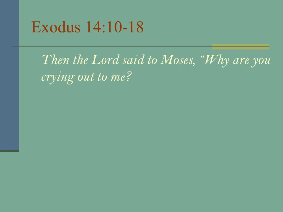 Exodus 14:10-18 Then the Lord said to Moses, Why are you crying out to me