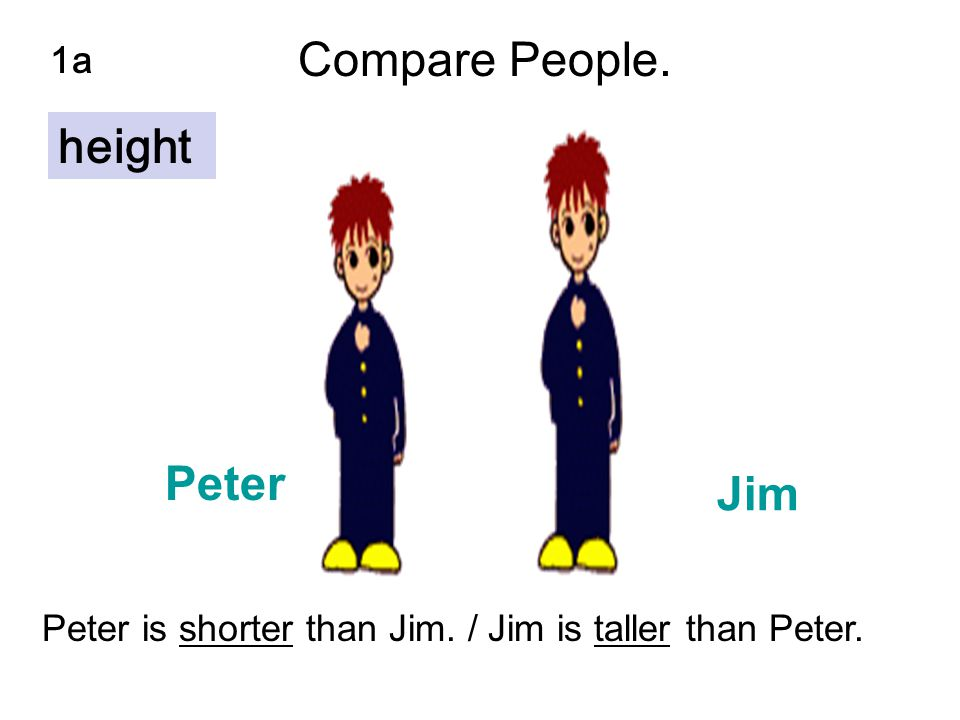 Peter Jim 1a Peter is shorter than Jim. / Jim is taller than Peter. Compare People. height