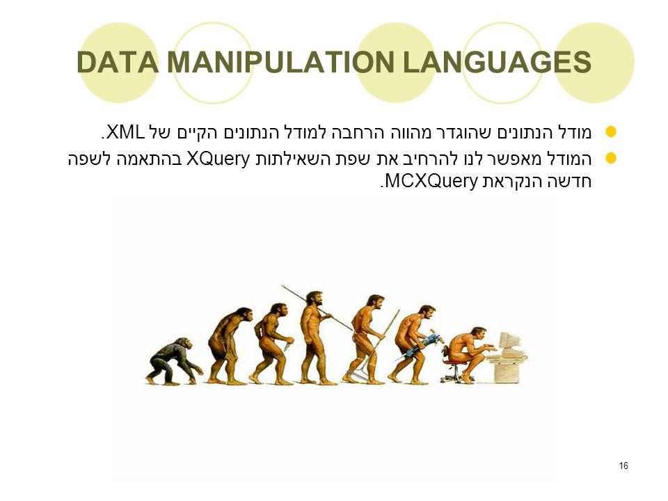 16 DATA MANIPULATION LANGUAGES מודל הנתונים שהוגדר מהווה הרחבה למודל הנתונים הקיים של XML.