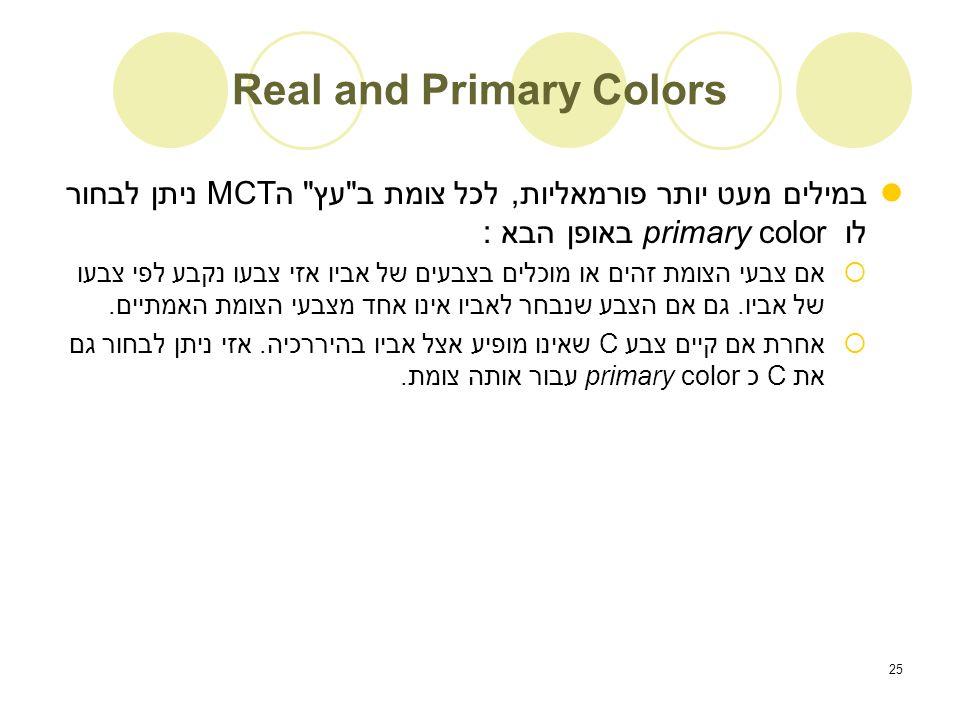 25 Real and Primary Colors במילים מעט יותר פורמאליות, לכל צומת ב עץ ה MCTניתן לבחור לו primary color באופן הבא :  אם צבעי הצומת זהים או מוכלים בצבעים של אביו אזי צבעו נקבע לפי צבעו של אביו.