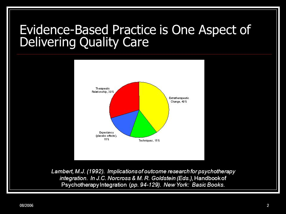08/20063 Evidence-Based Practice is One Aspect of Delivering Quality Care On the basis of the Horvath and Symonds (1991) meta-analysis, Wampold (2001) portioned 7% of the overall variance of outcome to the alliance.