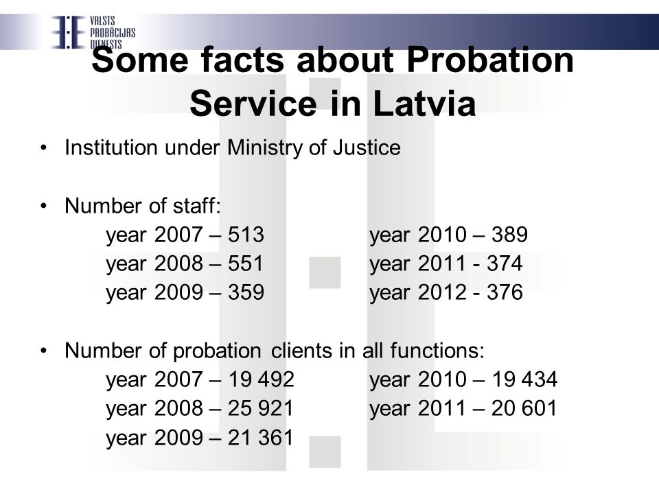 Some facts about Probation Service in Latvia Institution under Ministry of Justice Number of staff: year 2007 – 513year 2010 – 389 year 2008 – 551year 2011 - 374 year 2009 – 359year 2012 - 376 Number of probation clients in all functions: year 2007 – 19 492year 2010 – 19 434 year 2008 – 25 921year 2011 – 20 601 year 2009 – 21 361