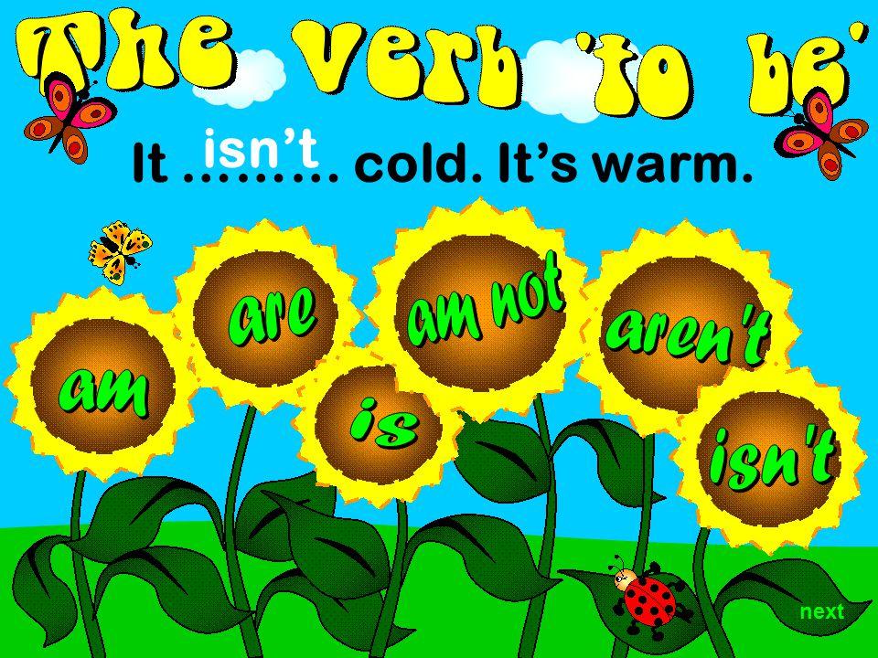It ……… cold. It's warm. isn't next
