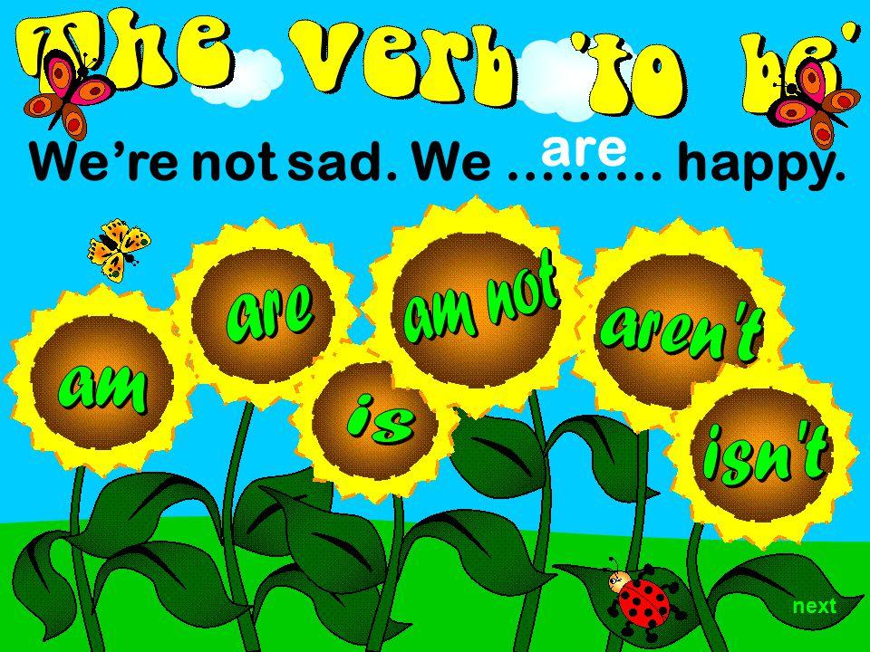 We're not sad. We ……… happy. are next