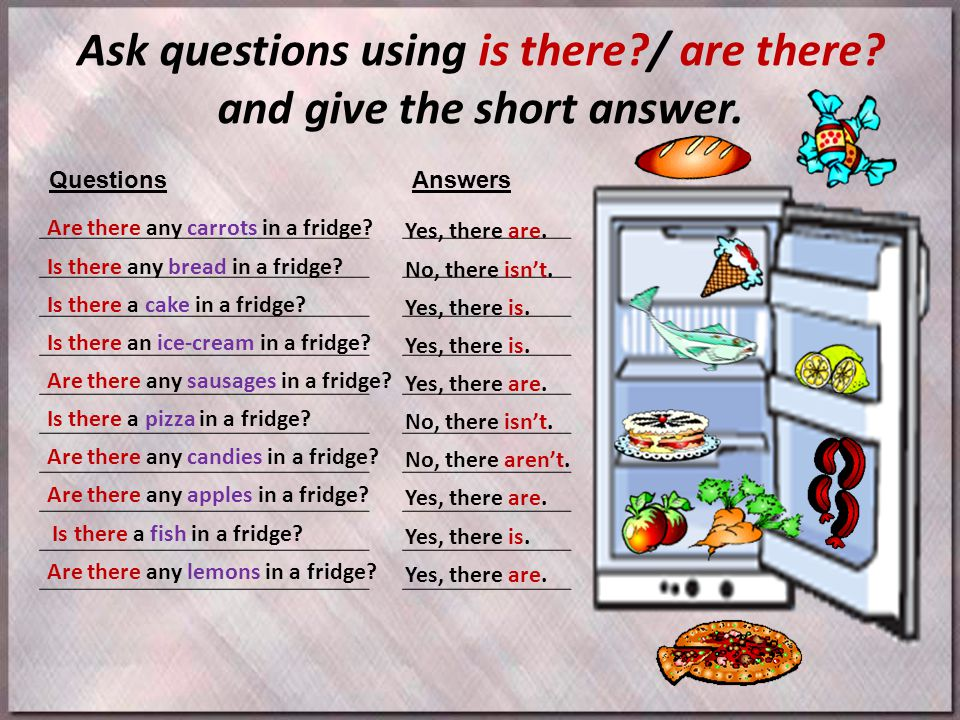 Ask questions using is there?/ are there.and give the short answer.
