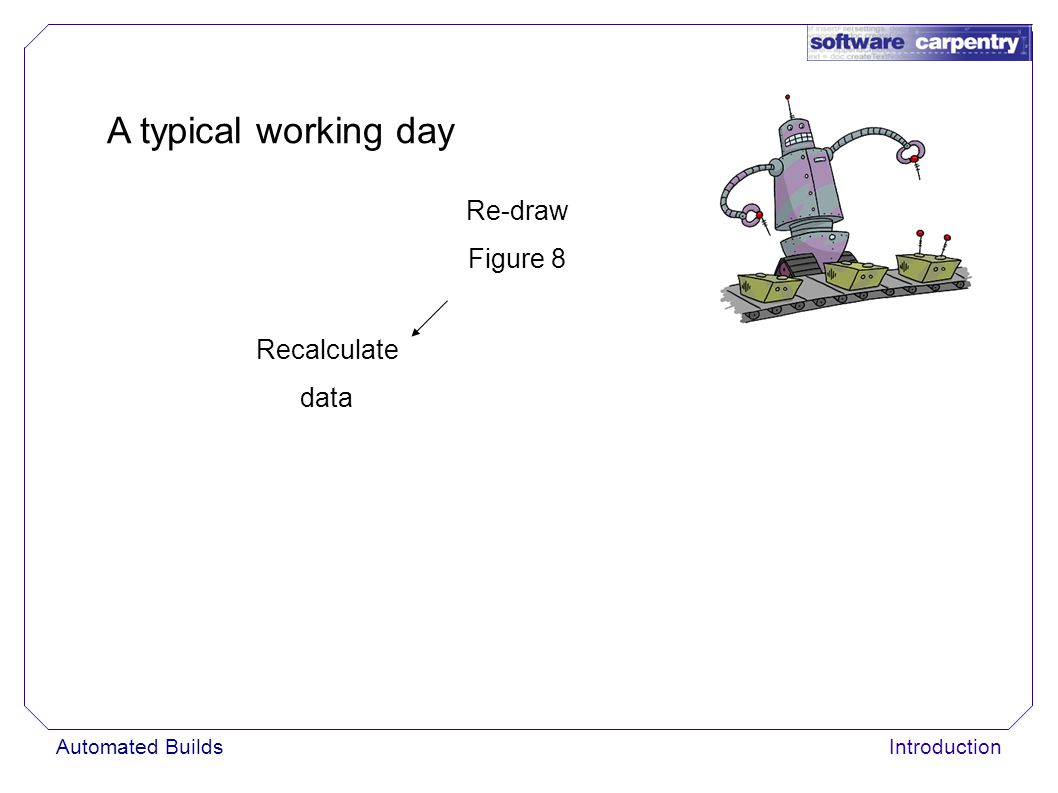 Automated BuildsIntroduction A typical working day Re-draw Figure 8 Recalculate data