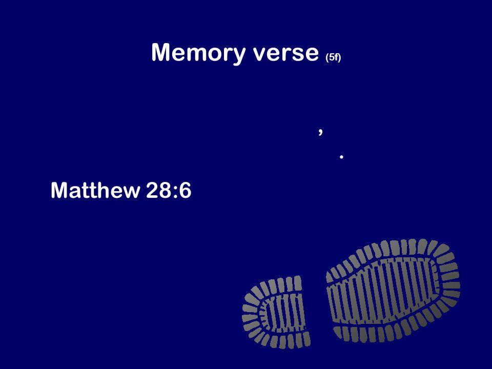 Memory verse (5f) Jesus isn't here. God has raised him to life, just as Jesus said he would.