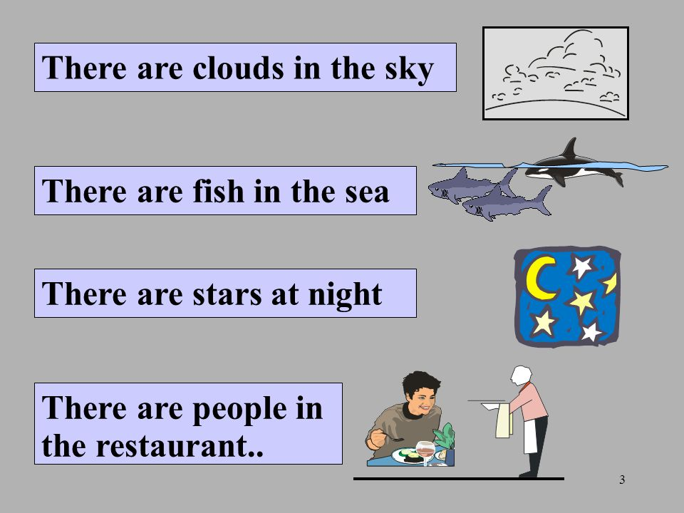 3 There are clouds in the sky There are fish in the sea There are stars at night There are people in the restaurant..