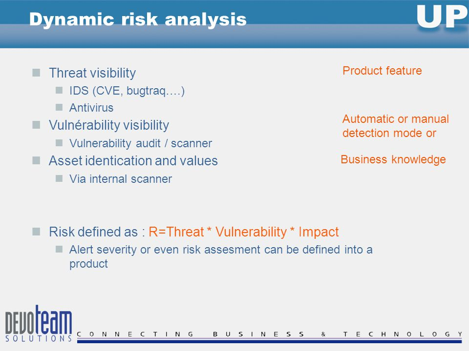 Threat visibility IDS (CVE, bugtraq….) Antivirus Vulnérability visibility Vulnerability audit / scanner Asset identication and values Via internal scanner Risk defined as : R=Threat * Vulnerability * Impact Alert severity or even risk assesment can be defined into a product Dynamic risk analysis Product feature Automatic or manual detection mode or Business knowledge
