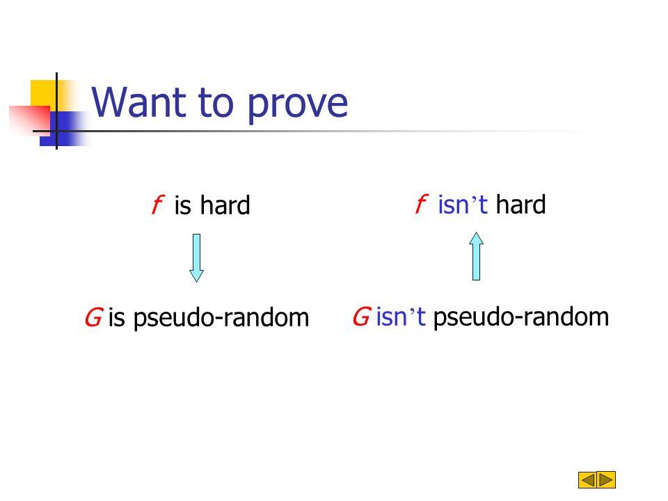 Want to prove f isn ' t hard G isn ' t pseudo-random f is hard G is pseudo-random