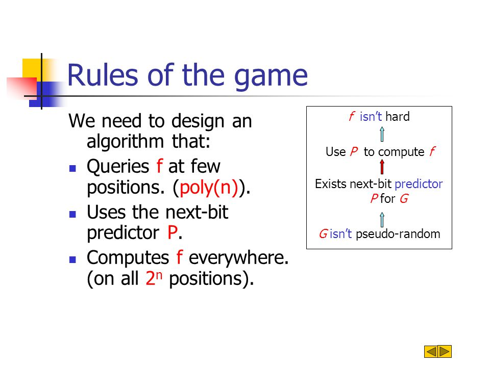 Rules of the game We need to design an algorithm that: Queries f at few positions.
