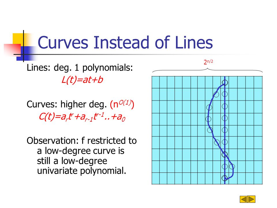 Curves Instead of Lines Lines: deg. 1 polynomials: L(t)=at+b Curves: higher deg.