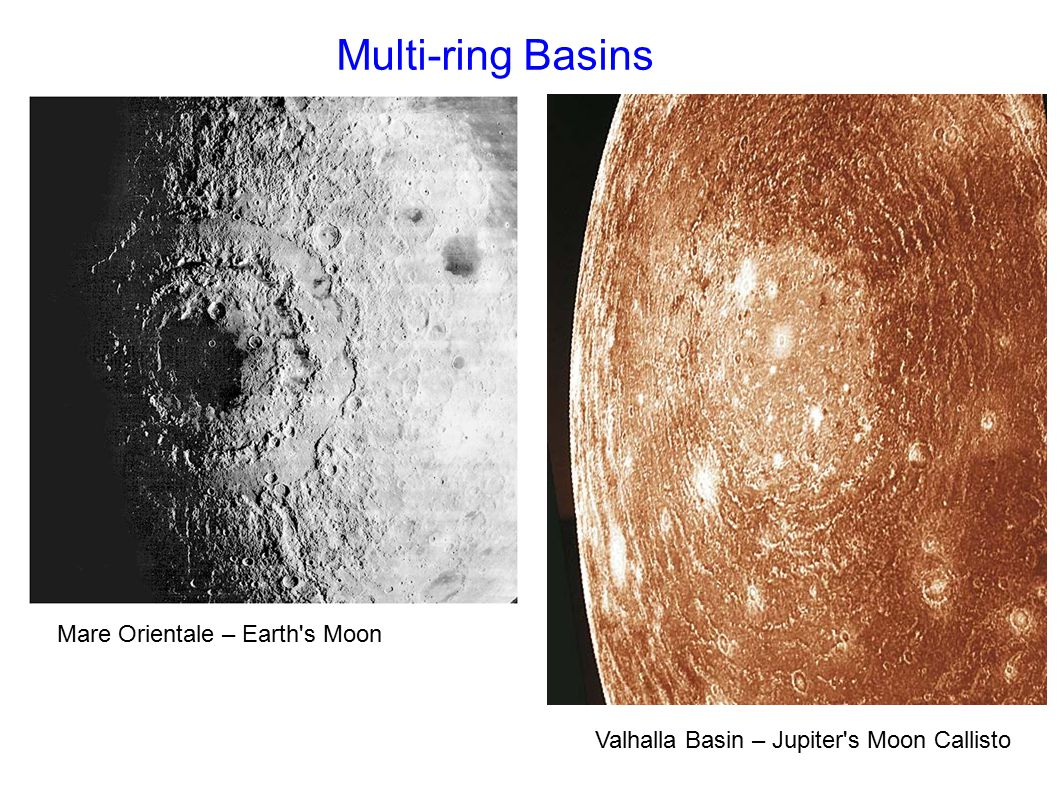 Multi-ring Basins Mare Orientale – Earth s Moon Valhalla Basin – Jupiter s Moon Callisto