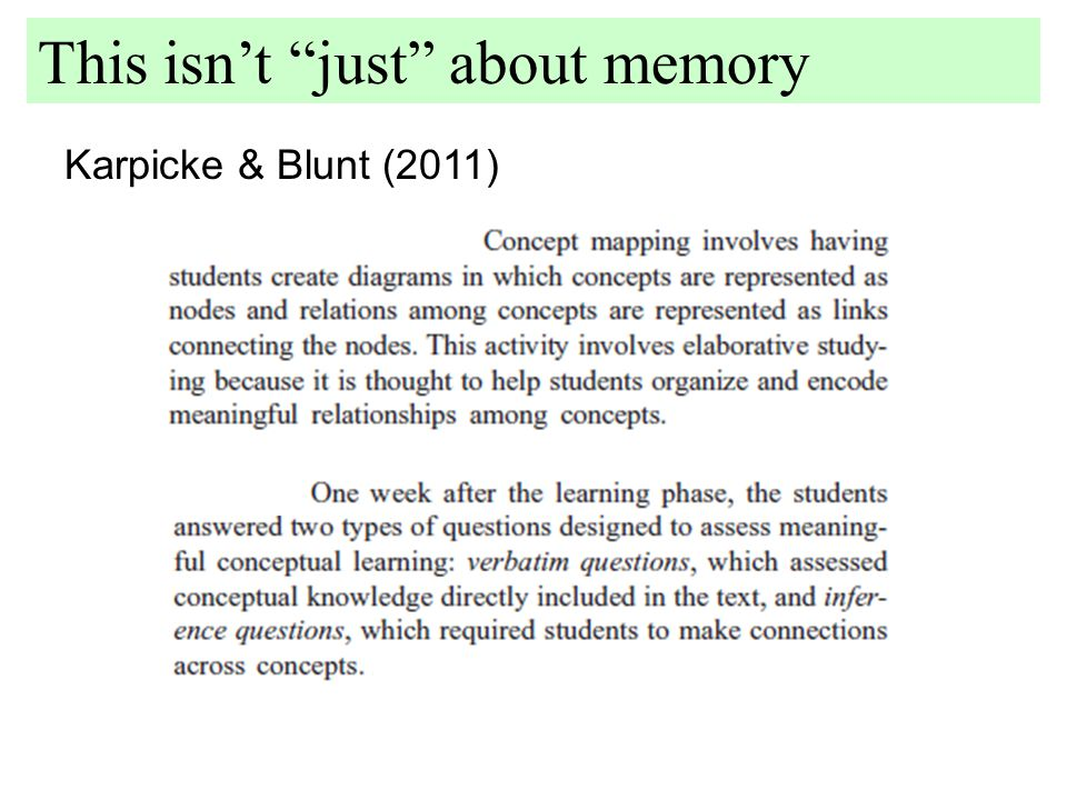 Karpicke & Blunt (2011) This isn't just about memory