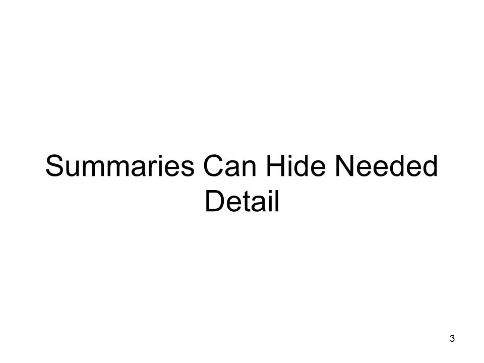 3 Summaries Can Hide Needed Detail