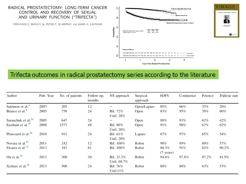 Trifecta outcomes in radical prostatectomy series according to the literature