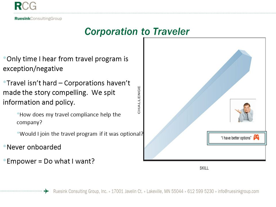 Corporation to Traveler Only time I hear from travel program is exception/negative Travel isn't hard – Corporations haven't made the story compelling.