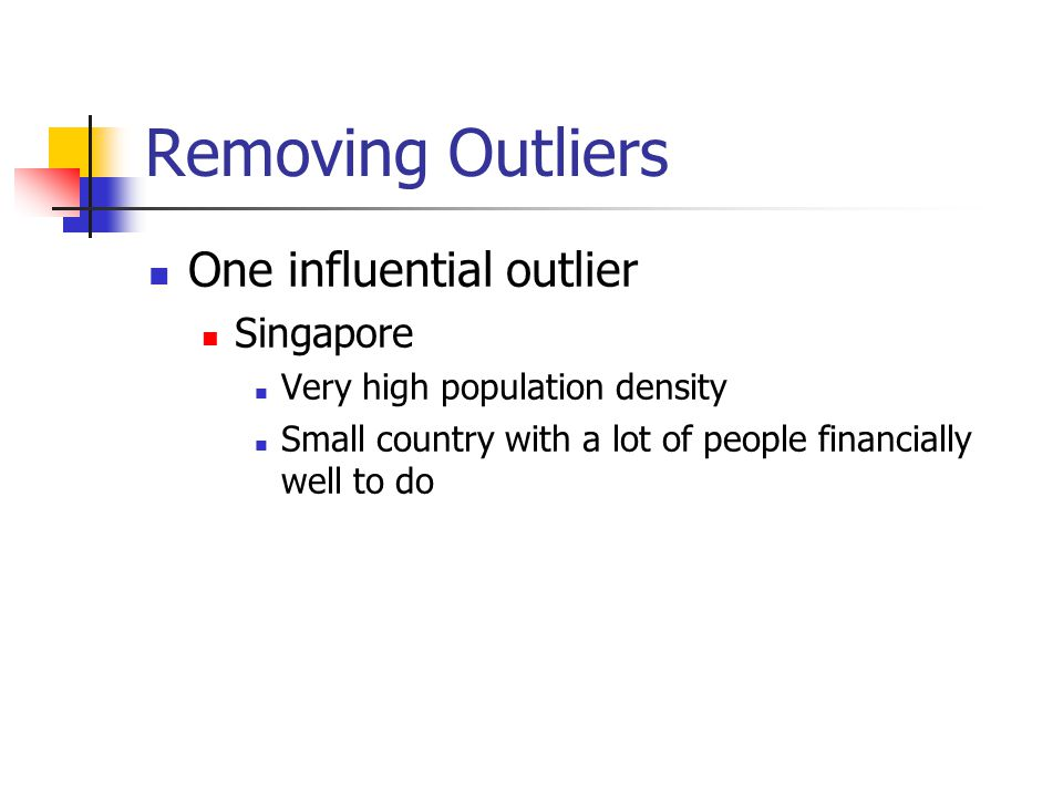 Removing Outliers One influential outlier Singapore Very high population density Small country with a lot of people financially well to do